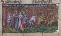 14th century headdress / veil ( manuscript : WLB Cod.bibl.fol.5 Weltchronik, folio 109v, 1383, Germany )