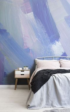 Brighten up your space in a playful way, with the fresh and modern, pink & blue abstract paint brush strokes wallpaper. Murs Violets, Sophisticated Nursery, Bleu Pastel, Blue Abstract Painting, Pastel Wallpaper, Geometric Designs, Paint Brushes, Brush Strokes, Modern Luxury
