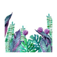Watercolor Tropical Leaves Background. Hand Painted Illustration for Floral Design Prints by tanycya at AllPosters.com