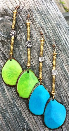 Bold Lime Green or Turquoise Tagua Slice Statement Earrings   XO Gallery