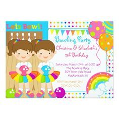 Bowling Birthday Party Invitations Cute Twin Girls Bowling Birthday Party Invitation