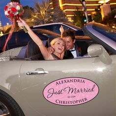 Large Personalized Wedding Window Cling for your Car (available in other colors)   #exclusivelyweddings   #pinkwedding