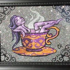 Hot Tea Girl Spa Glitter Kunst, Glitter Art, Disney Characters, Fictional Characters, Spa, Painting, Painting Art, Paintings, Fantasy Characters