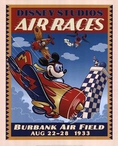 Mickey is a lucky mouse and a crazy pilot plane Vintage Disney Posters, Vintage Mickey, Vintage Travel Posters, Art Disney, Disney Love, Disney Mickey, Disney Ideas, Disney Cruise, Disney Magic