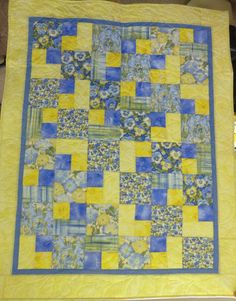 "Lap Quilt~Patchwork~Floral Pansy Quilt~Yellow and Blue, 47"" x 59"""