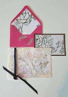 http://www.crimsonletters.com This magenta watercolour wedding stationery suite is inspired for brides on their wedding day by the pretty depths and varying hues of the pink Chinese flowering cherry tree, the Kawazuzakura. Crimson Letters want to present fresh wedding invitations  for wedding inspiration with a modern twist and painted blooms, using watercolours and acrylics.