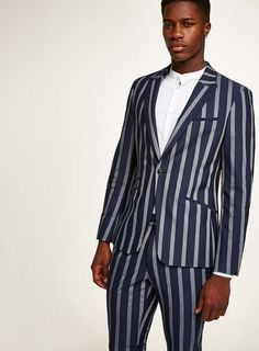Navy And White Stripe Muscle Fit Suit Topman Suits, Trouser Suits, Mens Suits, Trousers, Skinny Suits, Fitted Suit, Navy And White, Asos, Suit Jacket