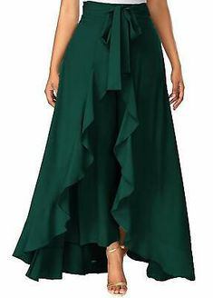 Solid Color Crepe Ruffle Palazzo in Teal Geen Fashion Pants, Hijab Fashion, Fashion Dresses, Red Skirts, Casual Skirts, Top Y Pollera, Dark Green Skirt, Party Kleidung, Modelos Fashion