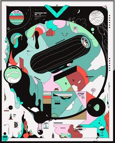 Gibberish Worlds: Illustrations by Ori Toor Art And Illustration, Illustrations And Posters, Graphic Design Posters, Graphic Design Inspiration, Graphic Art, Ligne Claire, Wow Art, Gif Animé, Grafik Design
