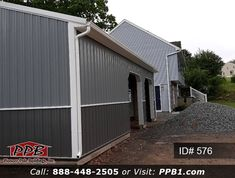 Upper Color: Slate Lower Color: Charcoal #twotone #slate #garage #black #trim Pole Buildings, Two Car Garage, Garage Design, 4 H, Garages, Black Trim, Slate, Charcoal, Shed