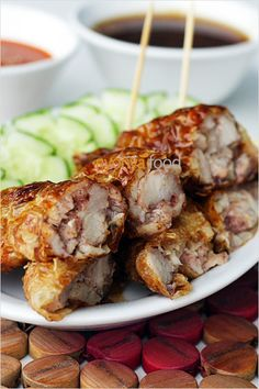 Five Spice Pork Rolls or Loh bak, a Malaysian recipe with 5-spice marinated pork wrapped with bean curd skin and deep-fried. So yummy
