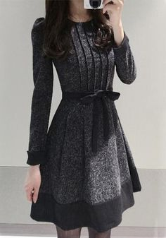 Dark Grey Patchwork Pleated Belt Puff Sleeve Dress - Midi Dresses - Dresses