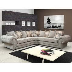 Verona Sofa Collection is a perfect way to bring a touch of luxury to your living room. Fabric Sofa, Sofa Sale, Living Room Grey, Living Room Furniture, Living Room Trends, Corner Sofa Fabric, Silver Sofa, Furniture, Sofa