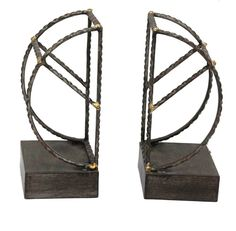 Features:  -Material: Metal.  -Color: Black.  -Set includes 2 bookends.  Product Type: -Decorative.  Style: -Contemporary.  Subject: -Standard.  Life Stage: -Adult.  Color: -Black.  Primary Material: