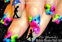 Neon Spring Flowers and Umbrellas! #nails #nail #art #springflowers #aprilshowers #neonnails #hotpinknails #bright #flower #neon #rain #romantic #DIYeasynailart #DIYnails