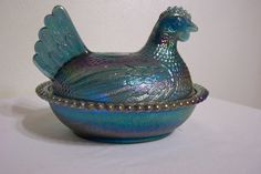 Blue Carnival Glass Hen on Nest Covered Dish by LuRuUniques