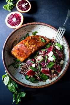 A healthy delicious recipe for Moroccan Salmon, paired with a Quinoa salad with orange, mint, almonds and olives. Simple, fast and easy.