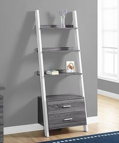 Another great find on #zulily! Gray & White Ladder Bookcase #zulilyfinds