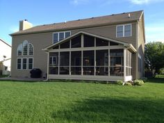 Here's a screened porch patio with a gable roof.