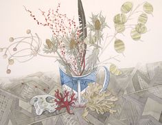 Angie Lewin 'Festival Mug with Honesty' watercolour http://www.angielewin.co.uk/collections/original-work/products/festival-mug-and-honesty