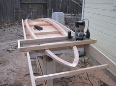 "2011 homebuilt 10' by 30"" low-tech rocker profile router sled"