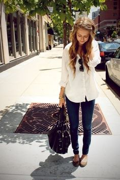 Shop this look for $96: http://lookastic.com/women/looks/button-down-shirt-and-skinny-jeans-and-satchel-bag-and-ballerina-shoes-and-statement-bracelet/2100 — White Button Down Shirt — Navy Skinny Jeans — Black Leather Satchel Bag — Brown Leather Ballerina Shoes — Gold Statement Bracelet