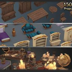 Props - Fantasy Prop Megapack - Mafubash 3 Coffee Tables, Medieval Games, Medieval Houses, Game Props, Low Poly 3d Models, Mega Pack, World Globes, Witch House, Stack Of Books