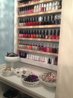 Nail polish storage.....I made this for Sheri last summer, its been pinned almost 2000 times! Nuts !!!
