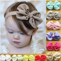 New Fashion Cute Kids Baby Girls Headband Toddler Infant Bowknot Headbands Bows 14 Colors Band Hair Accessories