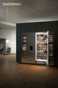 Gaggenau's Vario cooling 400 series variations blend effortlessly into a cooling… – Gray Espresso Kitchen Cabinets Espresso Kitchen Cabinets, Kitchen Countertops, Tv In Kitchen, Aluminium Doors, Cuisines Design, Kitchen Design, Home Appliances, House Design, House Styles