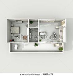 #Stock #photo: #3d #interior #rendering of #furnished #home #apartment: #room, #kitchen, #bedroom, #bathroom, #hall, #entrance, #balcony, #living #room, #door, #window, #flat, #house #shutterstock