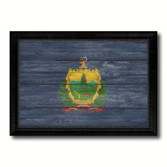 Vermont State Flag Texture Canvas Print with Black Picture Frame Home Decor Man Cave Wall Art Collectible Decoration Artwork Gifts