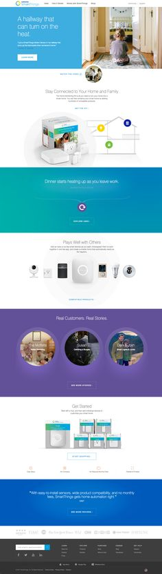 Value proposition, products and case studies are displayed well   Samsung SmartThings, https://www.smartthings.com/