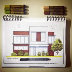 Fachada de casa moderna - Top Of The World Do Pi Ke Interior Architecture Drawing, Architecture Concept Drawings, Interior Design Sketches, Architecture Sketchbook, Concept Architecture, Facade Architecture, Architect Drawing, Design Art, Decoration