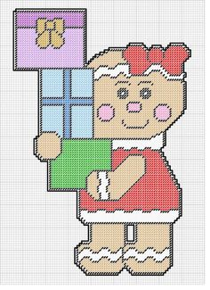 GINGERBREAD GIRL WITH PRESENTS by KATHY -- WALL HANGING