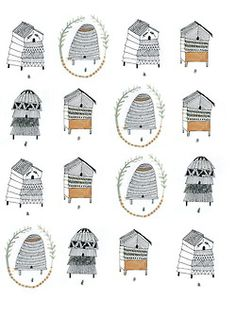 Marvelous Home Design Architectural Drawing Ideas. Spectacular Home Design Architectural Drawing Ideas. Bee Skep, Bee Hives, Bee Art, Guache, Bees Knees, Web Design, Bee Keeping, Painting, Illustrations Posters