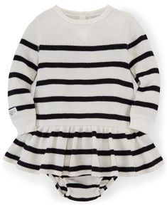 Ralph Lauren Baby Girls' Striped Waffle-Knit Dress - Baby Girl (0-24 months) - Kids & Baby - Macy's