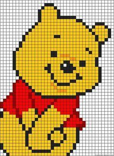 Winnie The Pooh perler bead pattern Disney Cross Stitch Patterns, Cross Stitch Designs, Disney Quilt, Modele Pixel Art, Pixel Art Grid, Graph Paper Art, Pixel Crochet, Pix Art, Pixel Art Templates