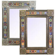 Talavera Tile Mirrors Collection – Talavera Tile Mirrorw/ Multi-colored Tiles – - Western Home Decor Living Room Moroccan Mirror, Spanish Bathroom, Indian Room, Spanish Interior, Global Decor, Mirror Tiles, Mirrors, Mexican Folk Art, Mexican Tiles