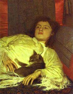 Girl with a Cat. (Portrait of Sophia Kramskaya). 1882. Oil on canvas. The Museum of Russian Art, Kiev, Ukraine.