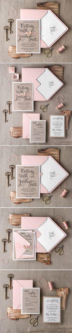 Calligraphy Wedding Invitations #pink #eco #handmade #weddingideas…