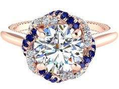 Blue Sapphires and White Diamonds Ring Forever One by BridalRings