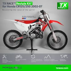 TX RACE™ Restyle Plastic Kit® for Honda CR125/250 2002 2003 2004 2005 2006 2007 is an update and modernization of the aesthetic line of this 2-Stroke model of Honda [CR] Motocross/Enduro. TX RACE™ offers an attractive solution that is easily assembled, and no chassis modification is necessary. The TX RACE™ Restyle Plastic Kit® notably enhances the appearance of your motorcycle, more than compensating for the cost of the kit. Blue Seat Covers, Honda Cr, Motocross, Racing, Bike, Motorcycle, Plastic, Motorbikes, Tactical Vest