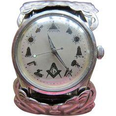 Incredible Masonic Watch in Sterling Silver Cuff Bracelet