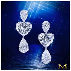 Moussaieffjewellers_ Love is in the air. Sensational earrings with two brilliant heart shape diamonds, pear shape diamond tops and detachable drops. Only by the House of Moussaieff Heart Shaped Earrings, Heart Shaped Diamond, Cute Earrings, Stone Earrings, Diamond Jewelry, Diamond Earrings, High Jewelry, Jewellery, Diamond Dreams