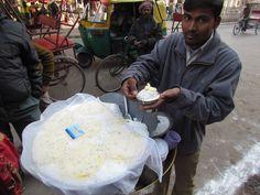 The big container with the white chaat base #DaulatKiChaat #Delhi #Sweets #Street #Food #India #ekPlate #ekplatedaulatkichaat