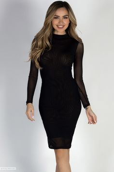 cf927c26aa792 Long Sleeve Bodycon Black Mesh See Through Midi Dress Long Sleeve Mesh Dress,  Club Dresses. Babe Society.
