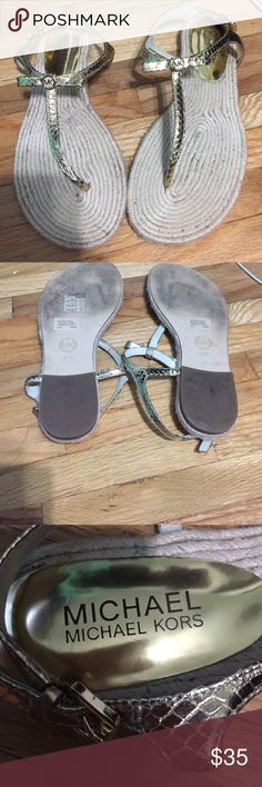 Michael Kors Gold Sandals Gently worn- great condition- dont have the box but will ship it  neatly wrapped MICHAEL Michael Kors Shoes Sandals