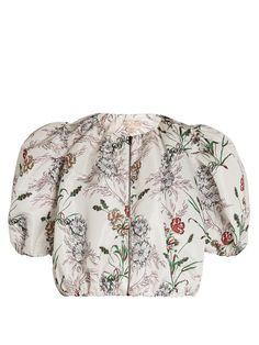 Giambattista Valli Floral-print faille cropped jacket