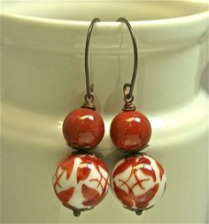 Vintage Bead Earrings Chinese Orange Butterfly Porcelain ,Red ...